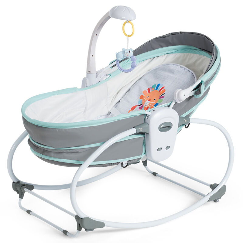 5 in 1 Portable Baby Rocking Bassinet Multi-Functional Crib w/ Canopy Music Home