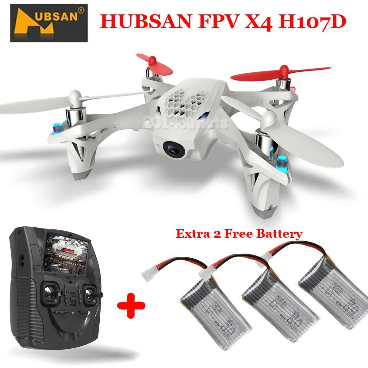 HUBSAN-X4-H107D-5-8G-FPV-RC-Quadcopter-Drone-LCD-Transmitter-Camera-3-Batteries