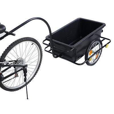 New Bike Bicycle Cargo Trailer Cart Luggage Carrier Steel Frame w/ Plastic Tank