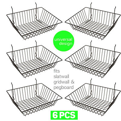 Set Of 6 Baskets Designed For Gridwall Slatwall And Pegboard - Black