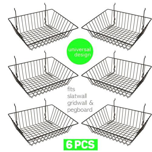 Set of (6) Baskets Designed for Gridwall, Slatwall and Pegboard - Black