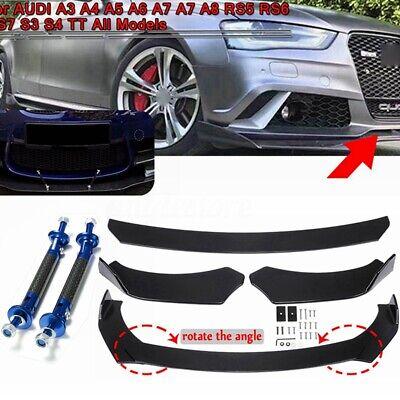 Front Bumper Lip Splitters & Lip Rod Struts For AUDI A3 A4 A5 A6 A7 A7 A8 Q3 Q5