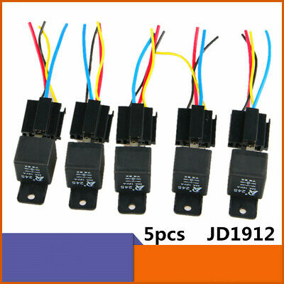 5pcs Jd1912 40a Control Electrical 12v Dc Car Rail Relay W Socket Harness Wires