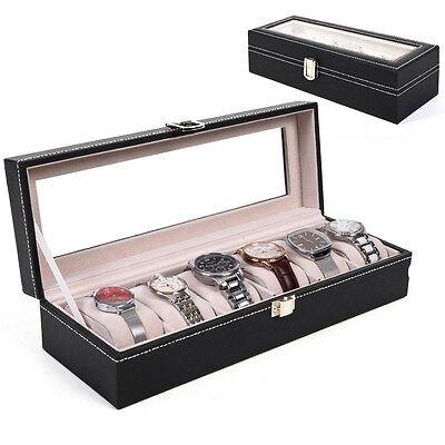 6 Slot Watch Box Display Case Organizer Glass Top Jewelry Storage Christmas Gift