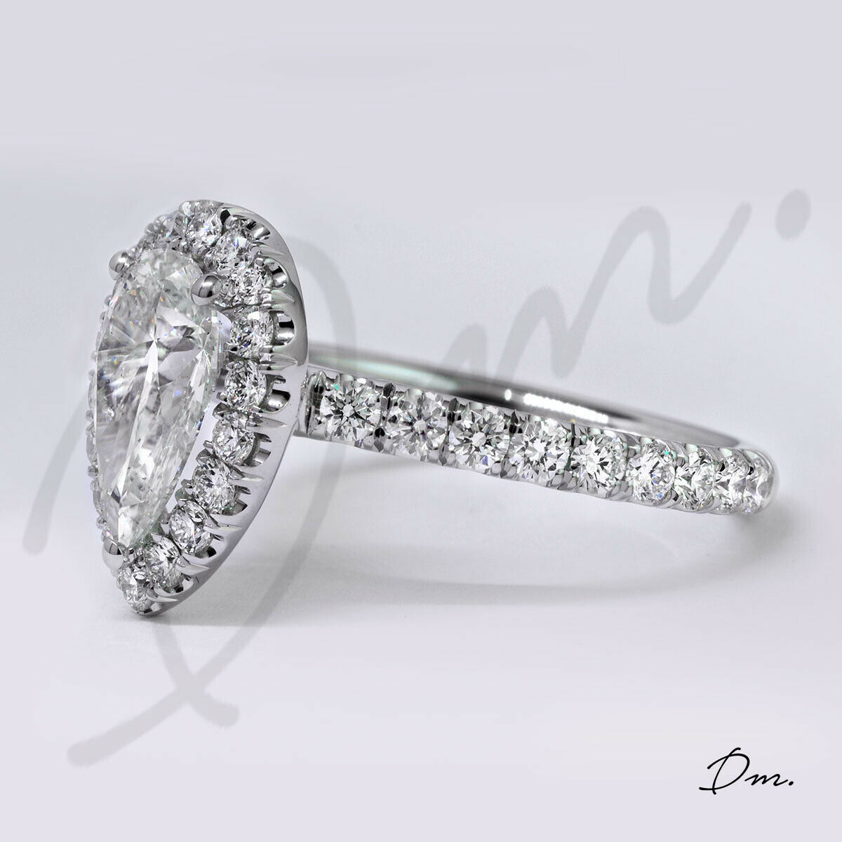 1.60 TCW Natural Pear Cut Halo U-Pave Diamond Diamond Engagement Ring - GIA 1