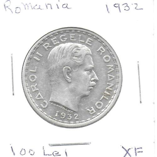 Romania 1932 100 Lei Silver Coin KM-52 XF