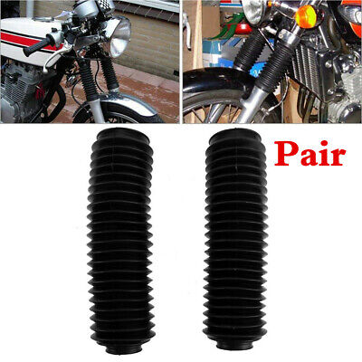 BLACK MOTORCYCLE RUBBER FRONT FORK DUST COVER GAITERS GATORS BOOTS FOR