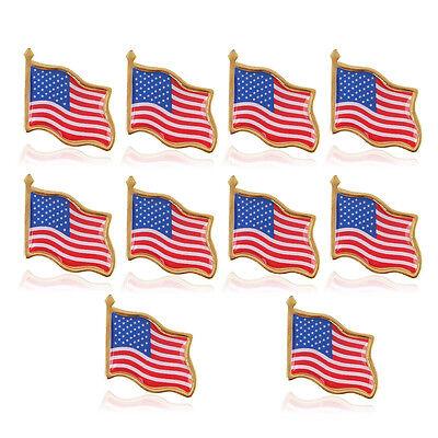 10PCS American waving Flag Lapel Pin United States USA Tack Badge Patriotic US - Us Flag Pins