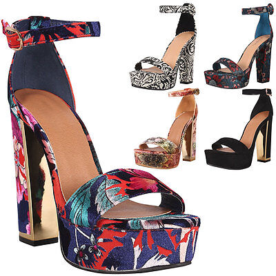 New Womens Chunky Block High Heel Platform Pump Sandal Shoe Ankle Strap Open Toe
