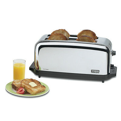 Waring Wct704 Toaster Chrome Commercial 4 Slice W Two 1-38in Slots