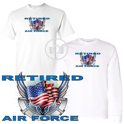 Air Force Long Sleeve T-shirt - Air Force Retired Pride Wings And Flag Graphic Short Long Sleeve White T Shirt