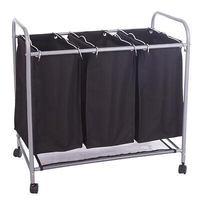 Wäschewagen 3 Fächern Wäschekorb Wäschesammler Wäschesortierer in Schwarz Neu