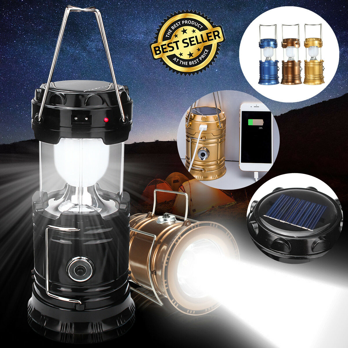 LED Flashlight Rechargeable Solar Power Camping Tent Light T