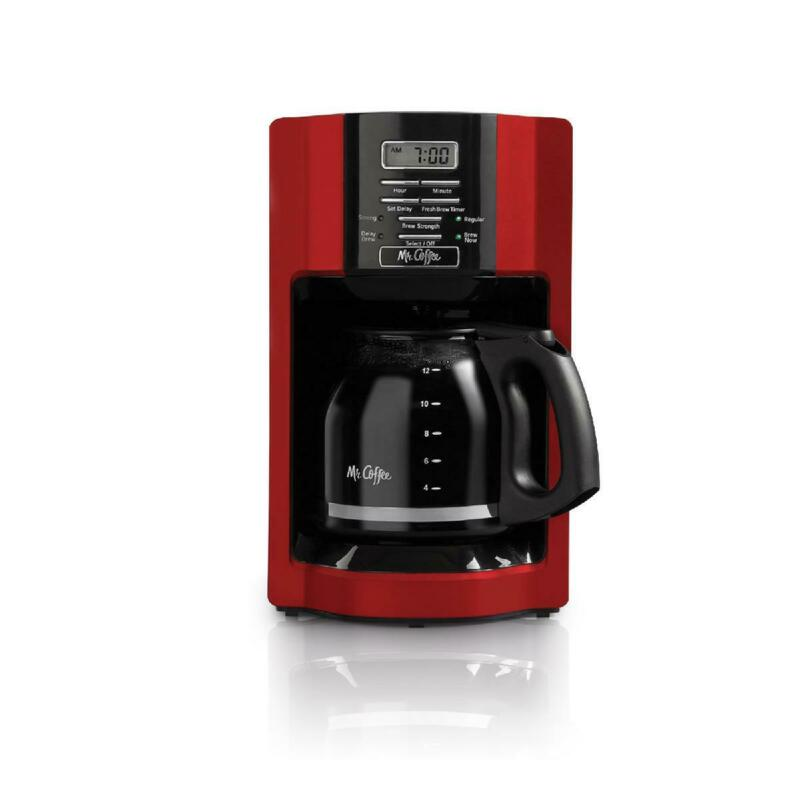 Mr. Coffee Coffee Maker 12-Cup Programmable Coffeemaker Personal Drip Filter Red