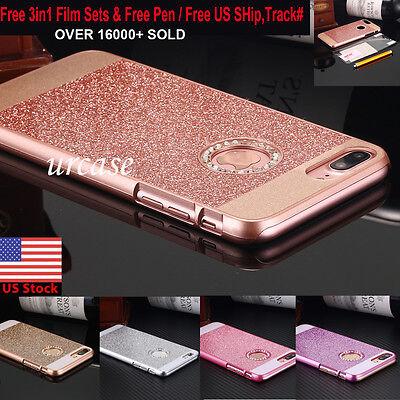 Luxury Crystal Rhinestone Diamond Bling Hard Case Cover Fr iPhone 6 6S 7 8 Plus