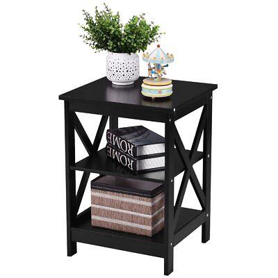 (3-Tier X-Design Nightstand Organizer End Table Storage Display Shelf Living Room)