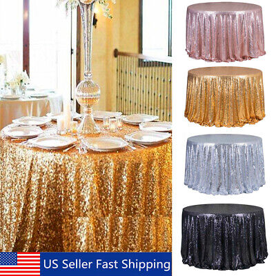 """48"""" Round Sparkle Sequin Tablecloth Cover For Wedding Party"""