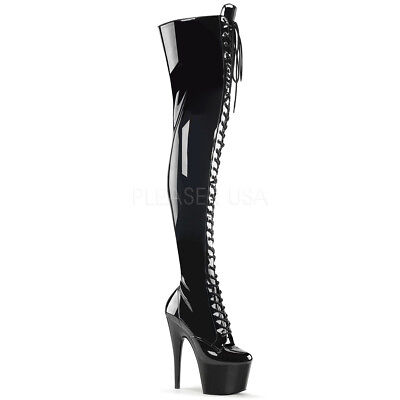 Thigh High Pleaser Boots (Pleaser ADORE-3023 Thigh High Boots Black Patent Pole Pole Dance Clubwear)