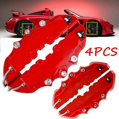 4PCS 3D Red Car Universal Disc Brake Caliper Covers Front & Rear Accessories Kit