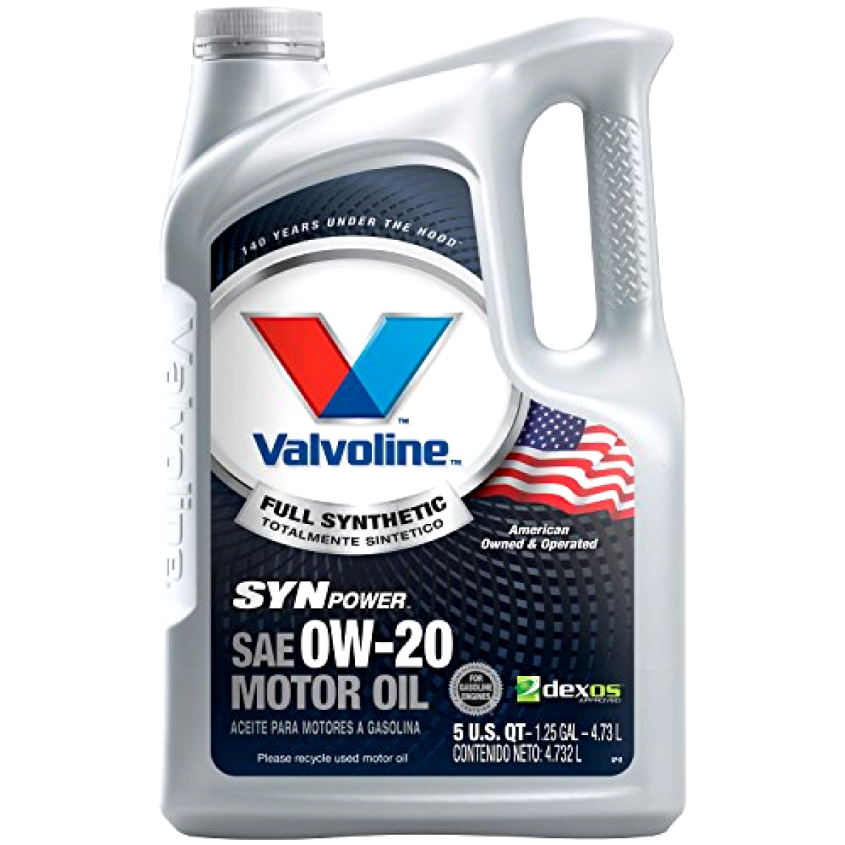 5 Quart Valvoline SynPower Full Synthetic Motor Oil SAE 0W-2