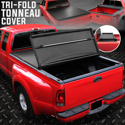 FOR 80-96 FORD F150 F250 F350 8FT LONG BED TRI-FOLD SOFT TOP TRUNK TONNEAU COVER