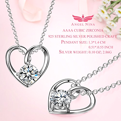 Valentine\u2019s Day Gift Sterling Silver With Cubic Zirconia Crystal Necklace Future Wife fiance