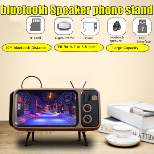 Mini Portable Retro Style bluetooth Speaker TV Design Mobile Phone Holder Stand
