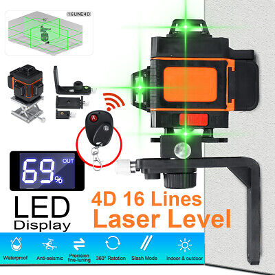 4d 16 Lines Laser Level Green Light Self Leveling 360 Rotary Measuring With Rc