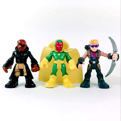 3Pcs PlaySkool Heroes HAWKEYE VISION Nick Fury Marvel Super Hero Adventures toys