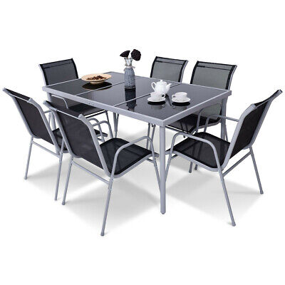 7 PC Outdoor Indoor Patio Deck Steel Glass Table Top Chairs Dining Furniture (Outdoor Indoor Patio)