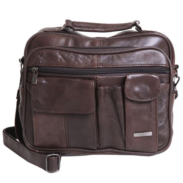 Ladies Women Genuine Leather Handbag Soft Cross Body Shoulder Bag Chocolate 3727