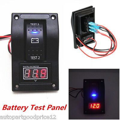 12V Car Van Marine LED Voltmeter Dual Battery Test Panel Rocker Switch ON-OFF-ON
