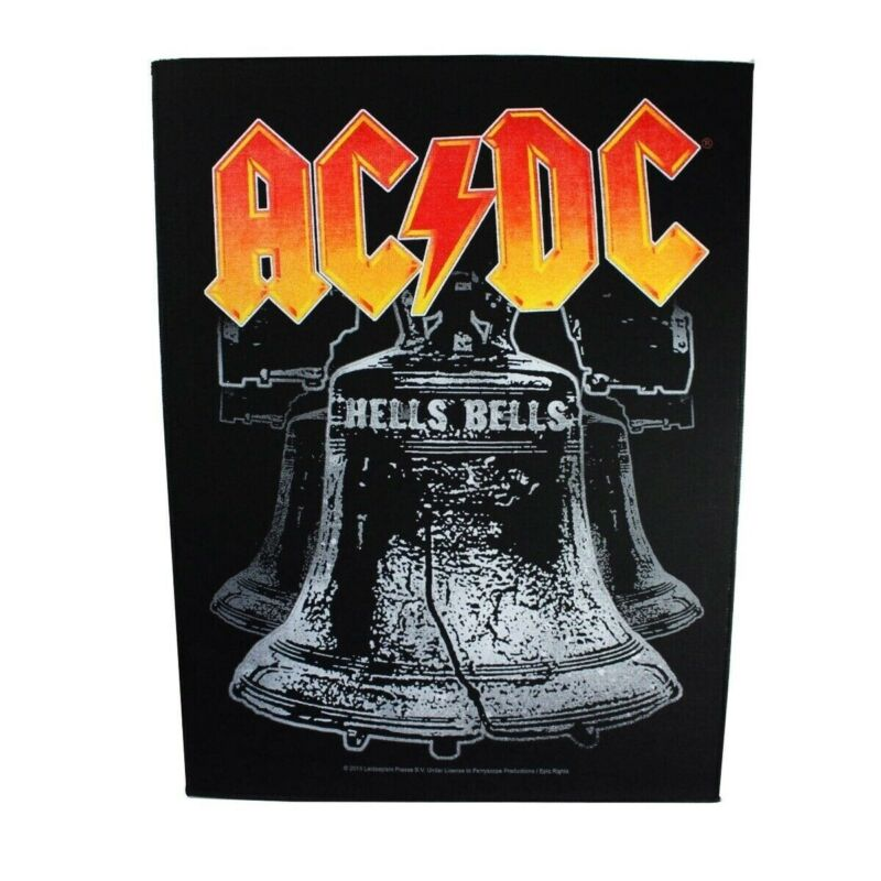 XLG AC/DC Hells Bells Back Patch Logo Rock Band Music Jacket Sew On Applique