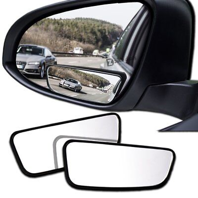 Zento Deals 2 Pack Stick On Square Blind Spot Mirrors All Weather 360 Rotation
