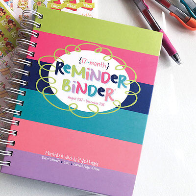 SALE! 2017-2018 Planner Reminder Binder®weekly & monthly, tabs, bookmark, lists