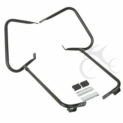 Black Saddlebag Bracket Guard W/ Support Bar For Harley Touring FLHT FLHR 97-08 for sale  Rancho Cucamonga