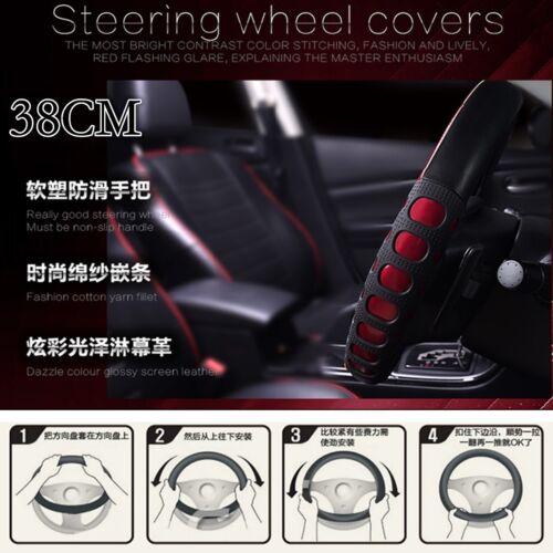 Non-slip Covers 38cm Steering Wheel Covers Leather Red Steering Wheel Covers NEW