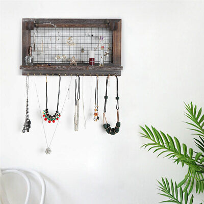 Rustic Jewelry Organizer Holder Wall Mount Wood Necklace Bracelet Display Hanger