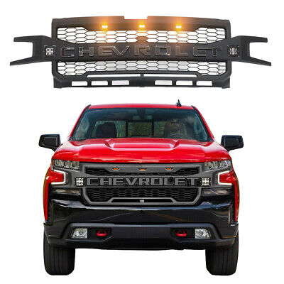 For 2019 2020 Chevrolet Silverado 1500 Black Front Grille with 3+2 LED Lights