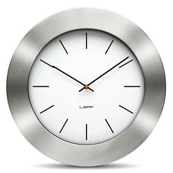LEFF Amsterdam Bold35 Stainless Steel White Wall Clock 35cm Wiebe Teertstra
