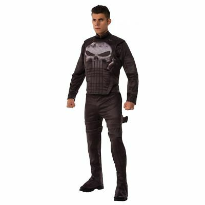 Punisher Costume Adult Halloween Fancy Dress Marvel Halloween Rubes XL - Punisher Costume Halloween