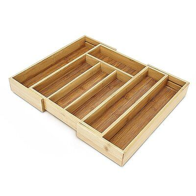 Bamboo Expandable Kitchen Cutlery Flatware tray,Drawer Inserts Storage Organizer