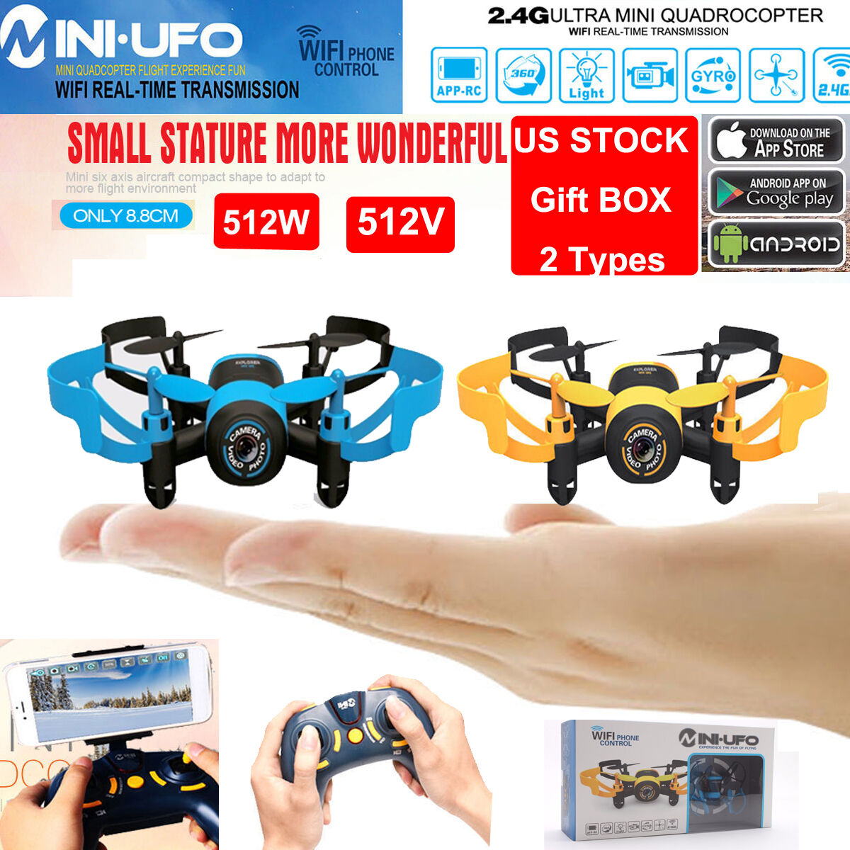 JXD 512W Explorers WiFI FPV MINI UFO RC Quadcopter 2.4G 4CH Drone HD Camera RTF