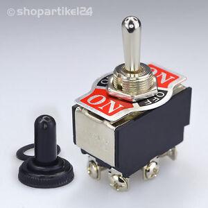 Kippschalter inkl. Schutzkappe ON/OFF/ON 250V Umschalter 2 polig (S8)+ BALLPEN