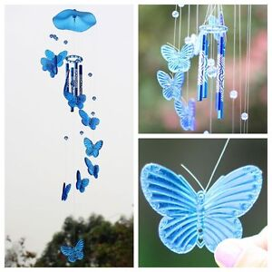 Blue Butterfly Wind Chime Bell Ornament Yard Garden Hanging Decor Art