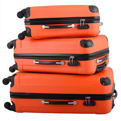 BHC 3PCS Luggage Spinner Coded Lock ABS Set Travel Bag Wheels Suitcase Orange