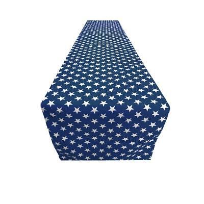 Decorative Poly Cotton Patriotic Stars Table Runner 14x96 Inches -Navy Blue
