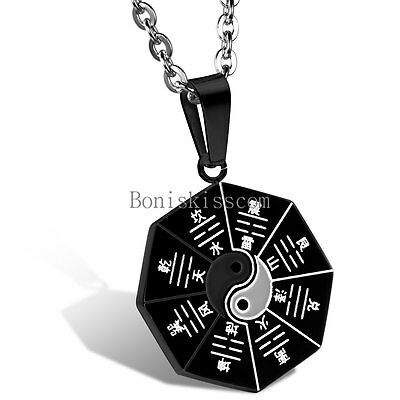 Stainless Steel Yin Yang Ba Gua Eight Diagrams Necklace Pendant Black / Silver - Eight Pendant Necklace