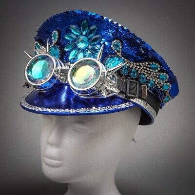 Blue & Silver Sequin Steampunk Burning Men Top Hat Costume for Festival Party](Party Top Hat)