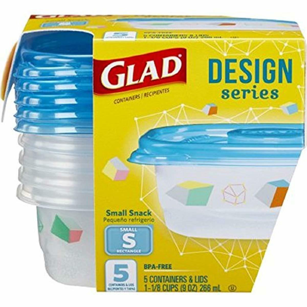 Glad Designer Series 5 Small Rectangular 9oz Containers & Li